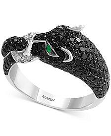 EFFY® Diamond (1-1/2 ct. t.w.) & Emerald Accent Big Cat Statement Ring in 14k White Gold