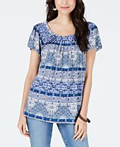 Style & Co Pleated-Neck Floral-Print Top, Created for Macy's