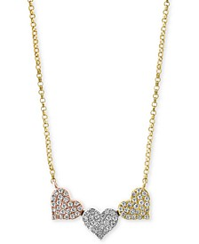 EFFY® Diamond Pavé Triple Heart Pendant Necklace (1/4 ct. t.w.) in 14k Gold, White Gold & Rose Gold