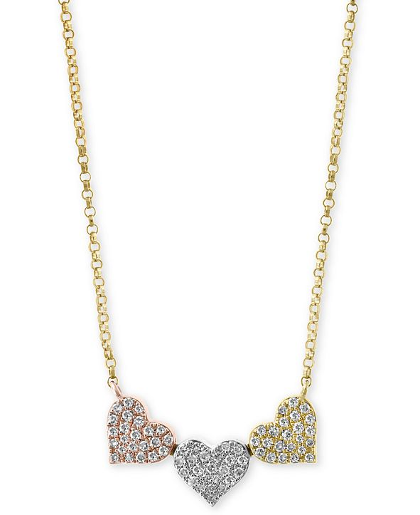 EFFY Collection EFFY® Diamond Pavé Triple Heart Pendant Necklace (1/4 ct. t.w.) in 14k Gold, White Gold & Rose Gold