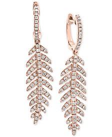 EFFY® Diamond Feather Drop Earrings (7/8 ct. t.w.) in 14k Rose Gold