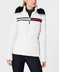 Tommy Hilfiger Logo Faux-Fur Puffer Coat, Created for Macy's