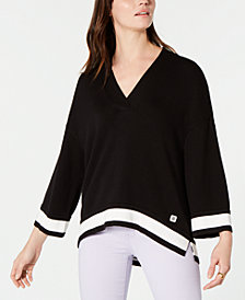 Tommy Hilfiger Oversized Deep V-Neck Sweater, Created for Macy's