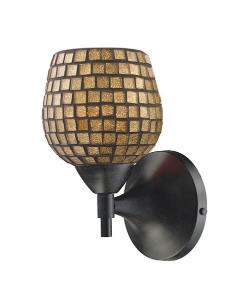 ELK Lighting Celina 1-Light Sconce in Dark Rust with Gold Glass