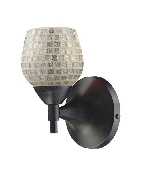 ELK Lighting Celina 1-Light Sconce in Dark Rust with Silver Glass