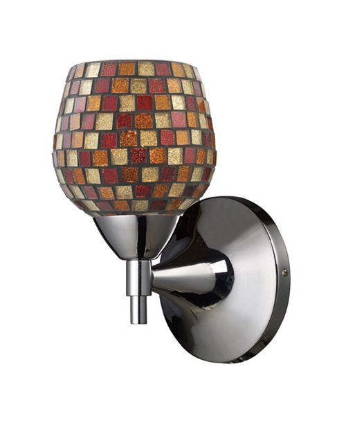 ELK Lighting Celina 1-Light Sconce in Polished Chrome with Multi Fusion Glass