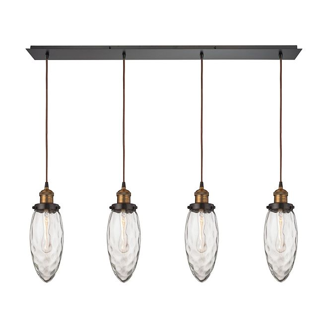 ELK Lighting Owen 4 Light Pendant in Oil Rubbed Bronze and Antique Brass