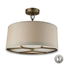 Baxter 3 Light Semi Flush in Brushed Antique Brass - Includes Adapter Kit