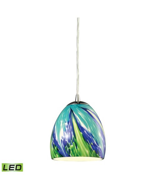 ELK Lighting Colorwave Collection 1 light pendant in Satin Nickel - LED Offering Up To 800 Lumens (60 Watt Equivalent)
