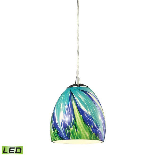 ELK Lighting Colorwave Collection 1 light pendant in Satin Nickel - LED Offering Up To 800 Lumens (60 Watt Equivalent)