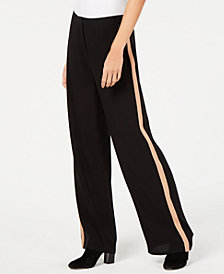 Eileen Fisher Side-Stripe Silk Wide-Leg Pants