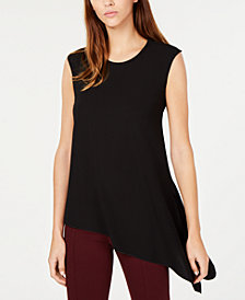 Anne Klein Asymmetrical Fluid Crepe Blouse