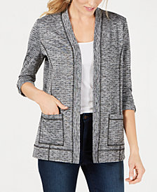 Karen Scott Petite Space-Dyed Cardigan, Created for Macy's