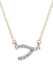 "Elsie May Diamond Accent Wishbone 16"" Pendant Necklace in 14k Gold"