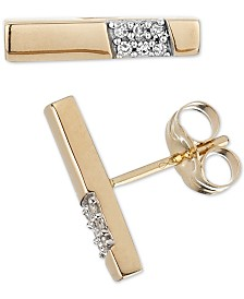 Elsie May Diamond Accent Dash Stud Earrings in 14k Gold