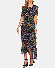 CeCe Printed Ruffled Midi Dress