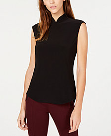 Anne Klein Mandarin-Collar Mock-Neck Top