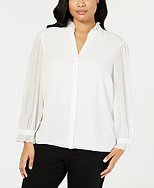 Calvin Klein Plus Size V-Neck Blouse