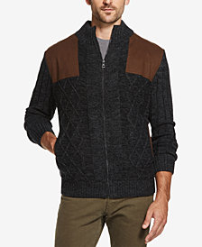 Weatherproof Vintage Men's Faux Suede-Patch Fleece-Lined Zip Sweater