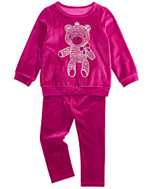 First Impressions Baby Girls Holiday Velour Teddy Bear Top & Velour Leggings Separates, Created for Macy's