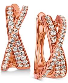 Nude Diamond Crisscross Drop Earrings (1 ct. t.w.) in 14k Rose Gold