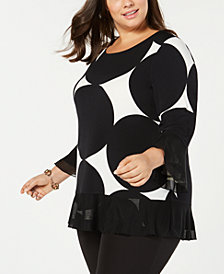 Alfani Plus Size Printed Mesh-Trim Top, Created for Macy's