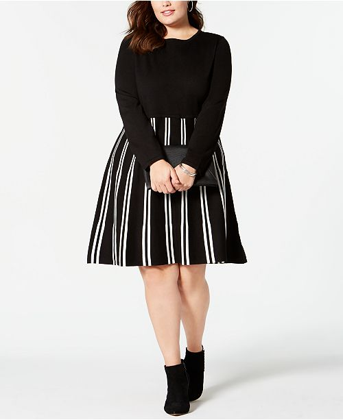 NY Collection Plus Size Striped Sweater Dress & Reviews - Dresses ...