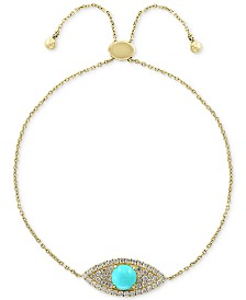 EFFY® Turquoise (5mm) & Diamond (1/5 ct. t.w.) Bolo Bracelet in 14k Gold