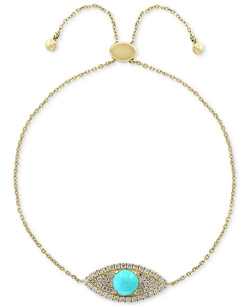 EFFY Collection EFFY® Turquoise (5mm) & Diamond (1/5 ct. t.w.) Bolo Bracelet in 14k Gold