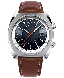 Alpina Men's Swiss Automatic Startimer Pilot Heritage Brown Leather Strap Watch 42mm