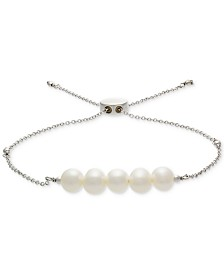 Cultured Freshwater Pearl (6mm) Bolo Bracelet in Sterling Silver