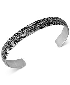 Men's Woven Pattern Cuff Bracelet in Stainless Steel