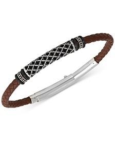 Men's Black Diamond Braided Leather Bracelet (1/4 ct. t.w.) in Stainless Steel