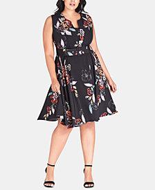 City Chic Trendy Plus Size Etch Floral Bouquet Dress
