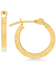 Children's Textured Hoop Earrings in 14k Gold