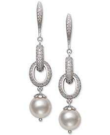 Belle de Mer Cultured Freshwater Pearl (9-1/2mm) & Cubic Zirconia Linear Drop Earrings in Sterling Silver