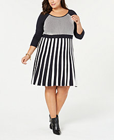 NY Collection Plus Size Striped Sweater Dress