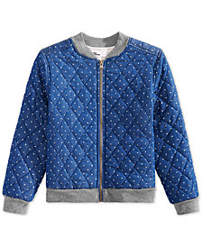 Epic Threads Big Girls Dot-Print Bomber Jacket, Created for Macy's