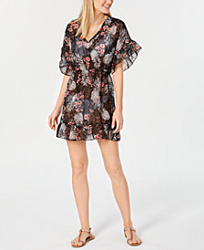 Miken Juniors' Ruffled Floral-Print Cover-Up