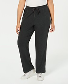 Ideology Plus Size High-Rise Side-Snap Sweatpants, Created for Macy's