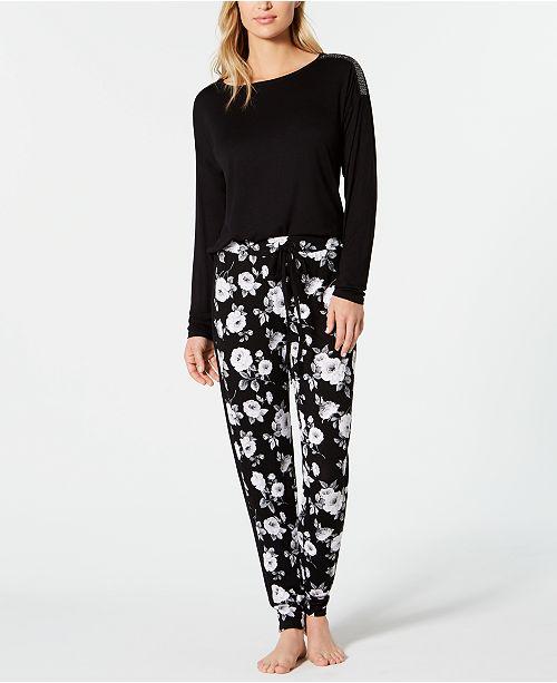 INC International Concepts INC Metallic-Trimmed Top & Printed Jogger Pajama Pants Sleep Separates, Created for Macy's