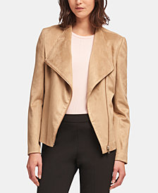 DKNY Faux-Suede Moto Jacket, Created for Macy's