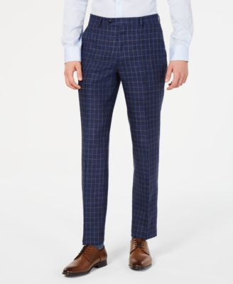 Men's Modern-Fit Navy Windowpane Linen Suit Pants