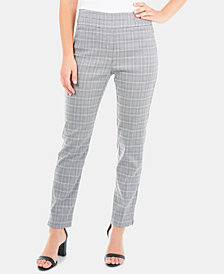 NY Collection Plaid Slim-Leg Pants
