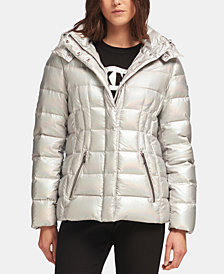 DKNY Metallic Hooded Puffer Jacket, Created for Macy's