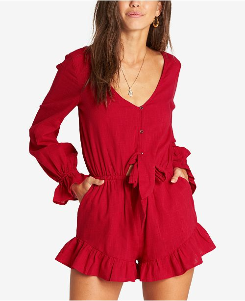 0f5d67708524 Billabong Juniors  Ruffled Romper   Reviews - Dresses - Juniors - Macy s