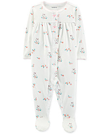 Carter's Baby Girls Pointelle Floral Footed Cotton Pajamas