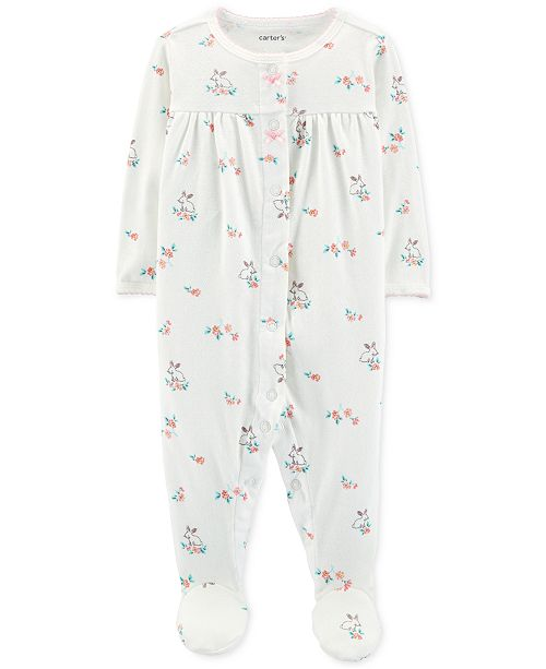 2ba84ed93 Carter s Baby Girls Pointelle Floral Footed Cotton Pajamas   Reviews ...