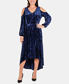 NY Collection Velvet Cold-Shoulder Dress