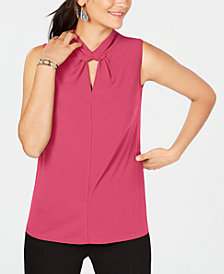 Alfani Petite Twist-Neck Top, Created for Macy's